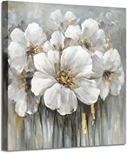 """Wall Art Flower Pictures Artwork: White Lily Abstract Floral Print on Canvas for Living Rooms (36""""x 36""""x1Panel)"""