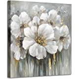 "Wall Art Flower Pictures Artwork: White Lily Abstract Floral Print on Canvas for Living Rooms (36""x 36""x1Panel)"