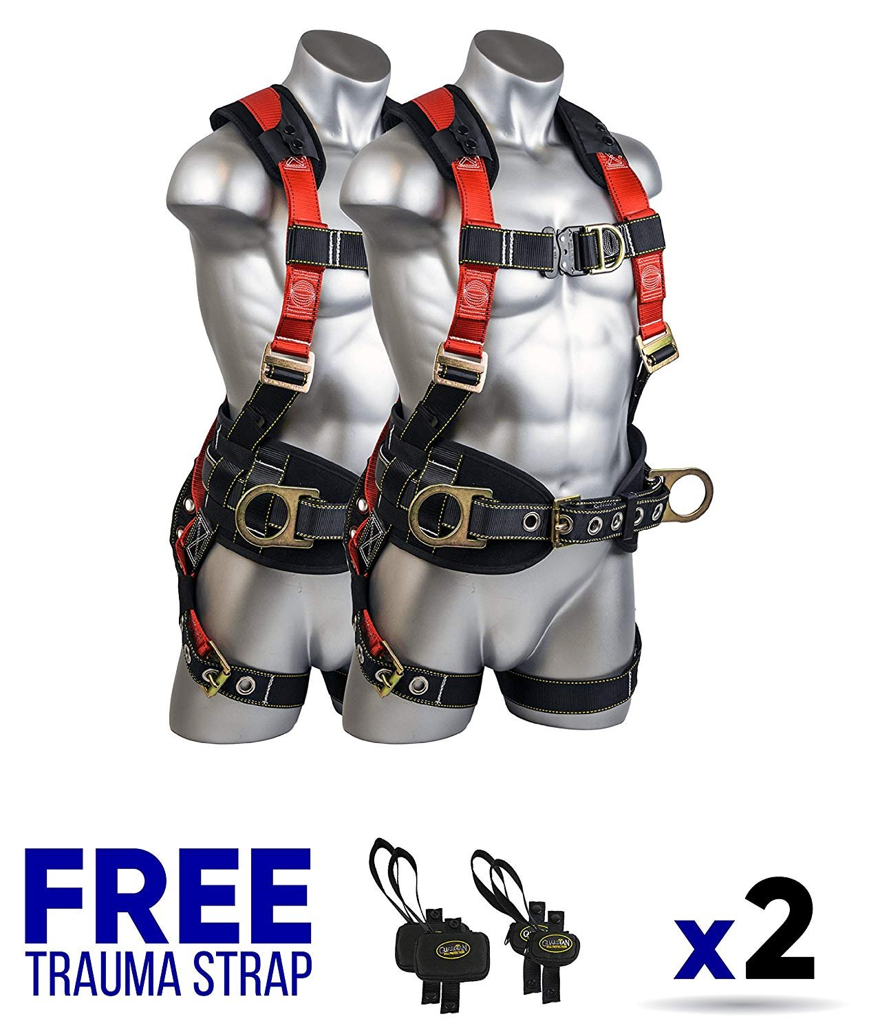 Guardian Fall Protection 11173 M-L Seraph Construction Harness with Side D-Rings (2 Units) FREE Trauma Strap