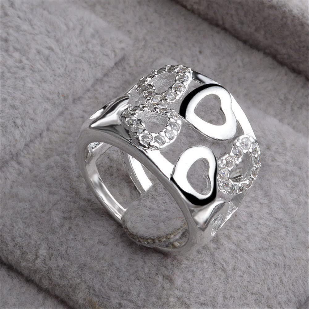 skyllc® Anillo de Diamante Plateado Plateado Plata cristalina Adorable del Diamante del Rhinestone