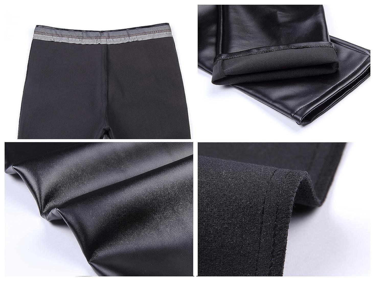 Duolunjindun Pantalons Homme PU Cuir Noir M/étallis/é /Épais Souple Vantage /Étanche Zipp/é Slim Hiver Simple Casual Mode Tavaille Commerce Moto Taille 34-42