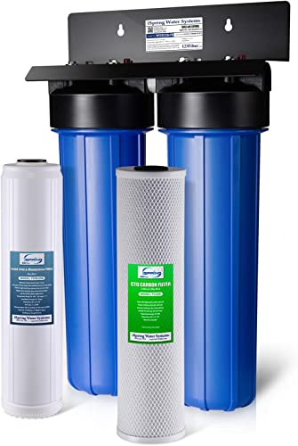 iSpring WGB22B-PB 2-Stage Whole House Water Filtration System with 20 x 4.5 Big Blue Carbon Block and Lead Reducing Filters