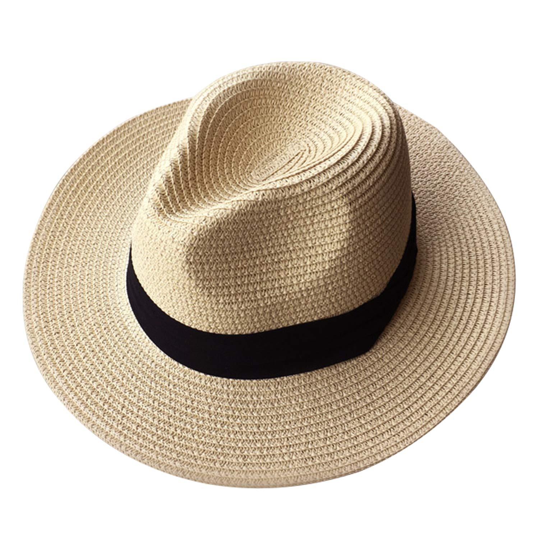 012fc41488a42 Loritta Summer Fedora Wide Brim Straw Hats Beach Sun Trilby Hat for Men  Women Beige-Yellow at Amazon Women s Clothing store