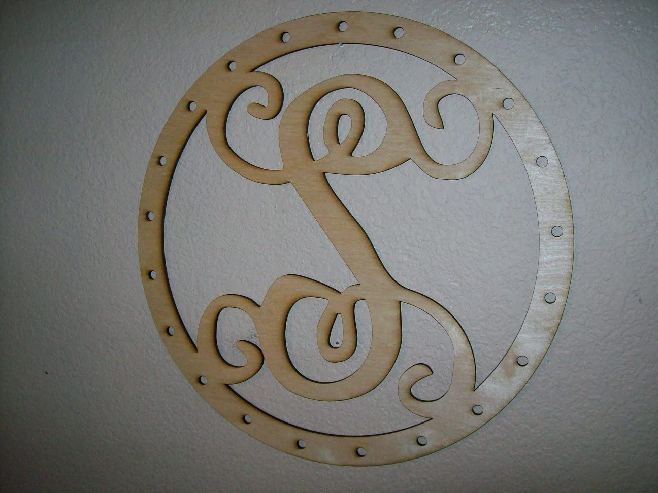 Unfinished Wood Circles Inside Frame Name Bar Vine Monogram 17.5 x 17.5 inch