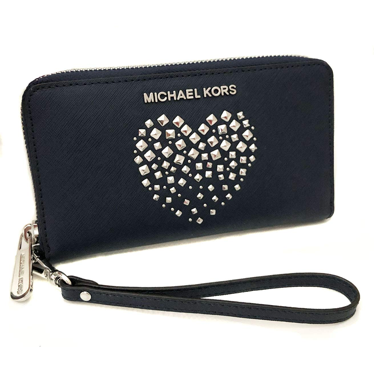 ee2dc8beb8f6 Amazon.com: Michael Kors Large Flat Multifunctional Phone Case Zip Around  Leather Wallet (Navy/Silver): Global Sports Center
