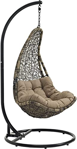 Modway Abate Wicker Rattan Outdoor Patio Porch Lounge Swing Chair Set