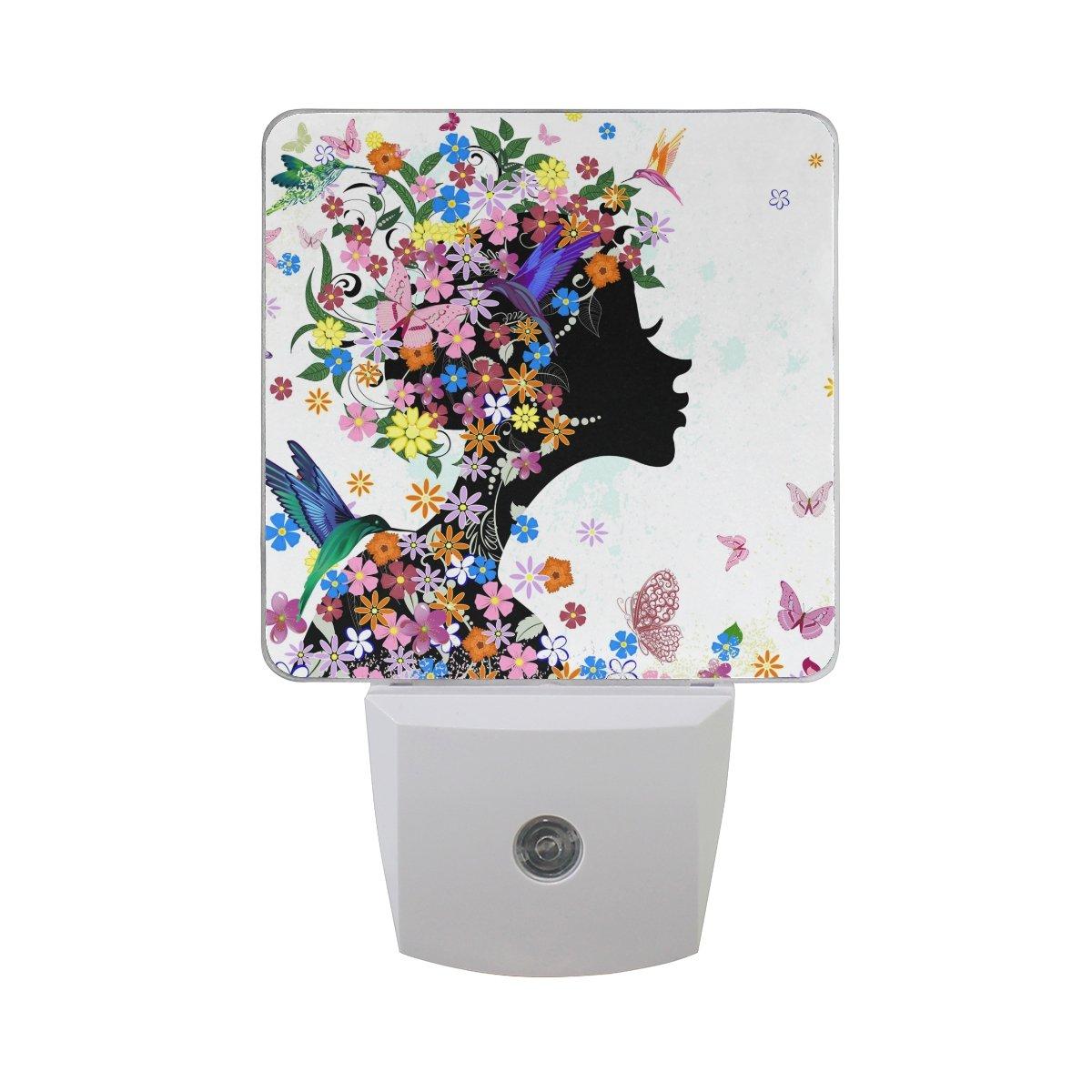 JOYPRINT Led Night Light Beautiful Girl Butterfly Flower, Auto Senor Dusk to Dawn Night Light Plug in for Kids Baby Girls Boys Adults Room