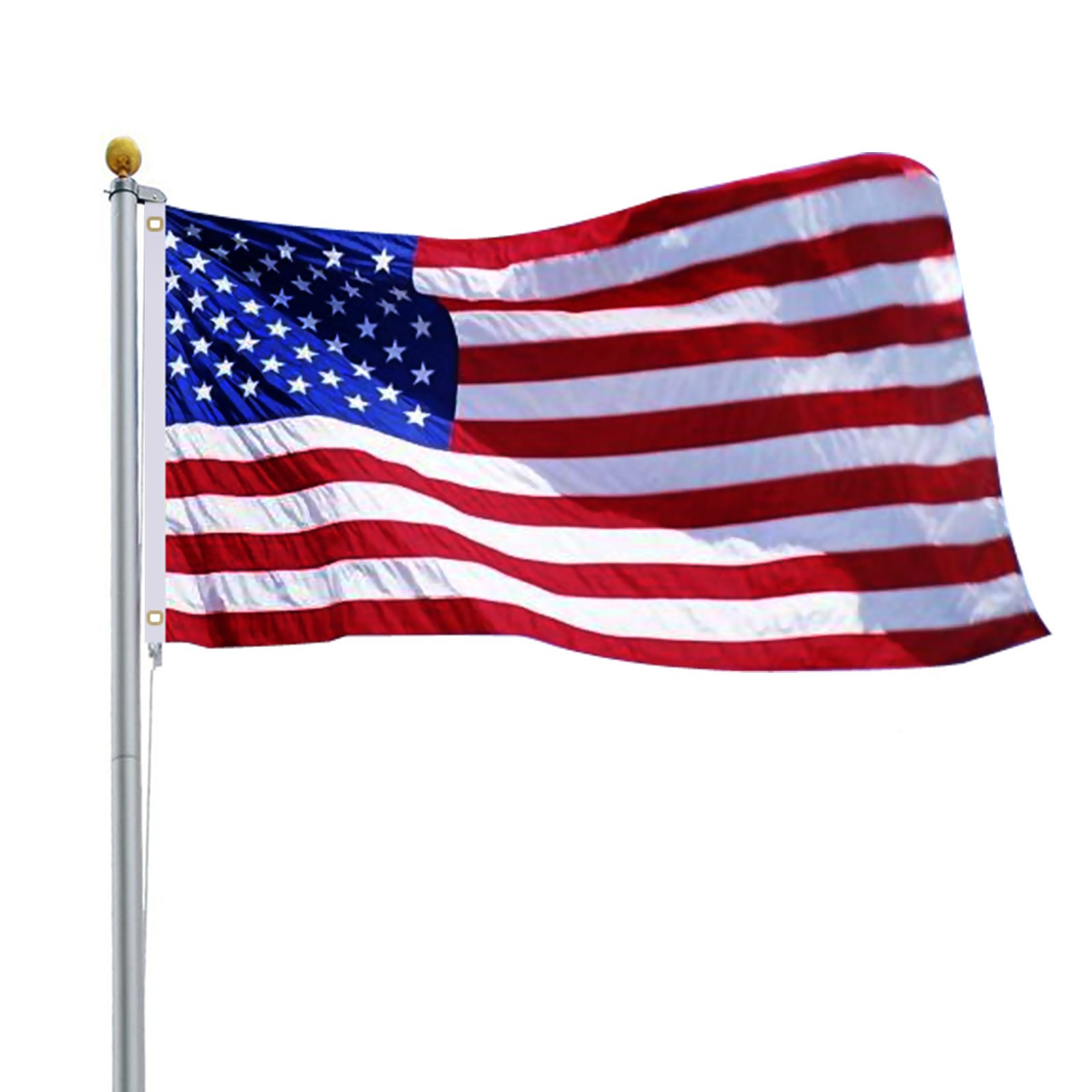 ZENY 16FT Sectional Flag Pole 3'x5' US Flag and Ball Top Kit Flagpole Outdoor Garden Halyard Pole Construction Heavy Duty Hardware