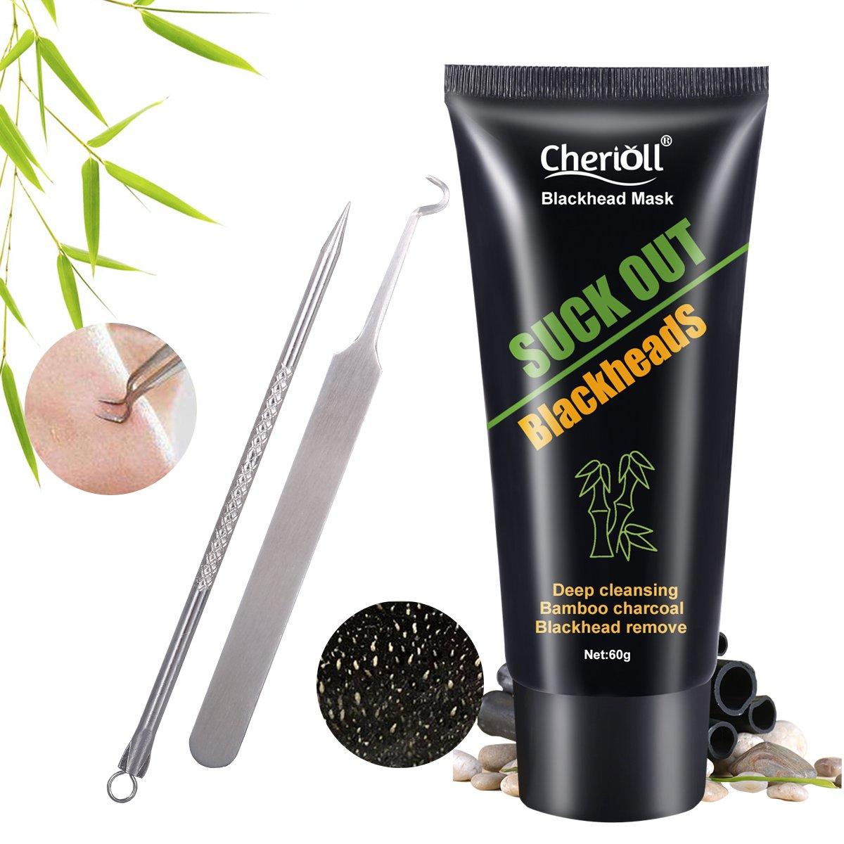 Charcoal Black Mask, Peel off Mask, Blackhead Remover Tools, Black Mud Face Mask, Farewell Strawberry Nose Toulifly