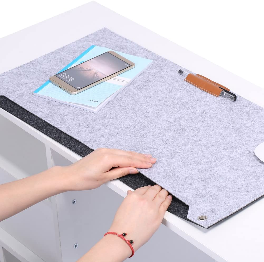 Office Desk Pad, Extended Office Mouse Pad, Felts Office Desk Laptop Mat Storage Organizer Table Pad Gray(Light Gray)