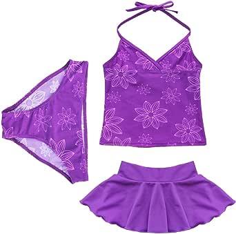 TiaoBug Girls 3pcs Purple Floral Halter Tankini Top Beachwear Swimwear Swimsuit Sets SZ 3-14Y