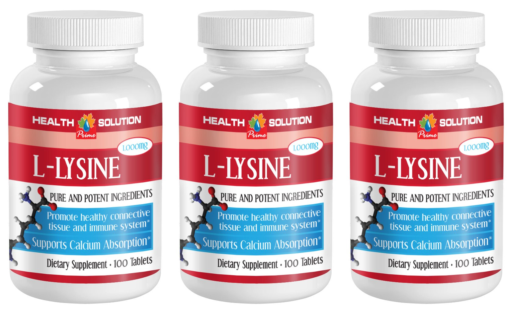 Lysine - L-LYSINE 1000MG - improve immunity (3 Bottles - 300 Tablets)