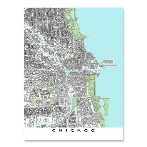 Chicago On The Map Of Usa.Amazon Com Chicago Map Print Illinois Usa City Wall Art