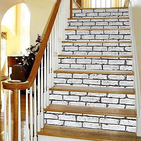 AYUE® 6pcs Escaleras 3D Pegatinas, Etiquetas Engomadas DIY Escalera Pared de Suelo Adhesivos de Etiquetas a Prueba de Agua Desmontables para Home Decor Escaleras (18 * 100 cm): Amazon.es: Hogar