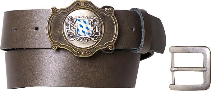 f13574c2018c Fronhofer Ceinture de costume traditionnel bavarois pour homme marron foncé,  ceinture échangeable en cuir marron