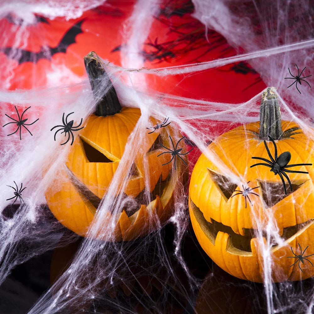 Halloween Decoration Spider Web Indoor Outdoor With 2 Fake