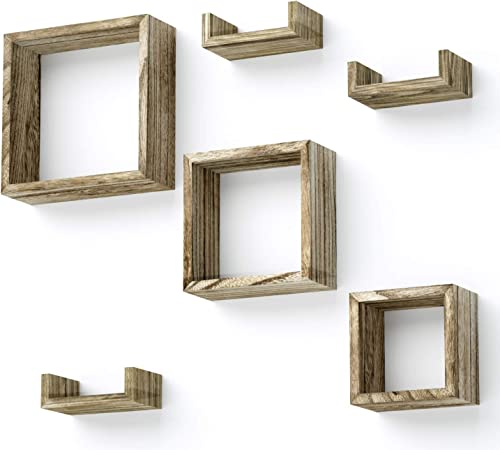 Love-KANKEI Floating Shelves Wall Mounted Set of 6 Rustic Wood Shelves Free Grouping with 3 Square Cube Shelves and 3 U Shelves for Bedroom Living Room