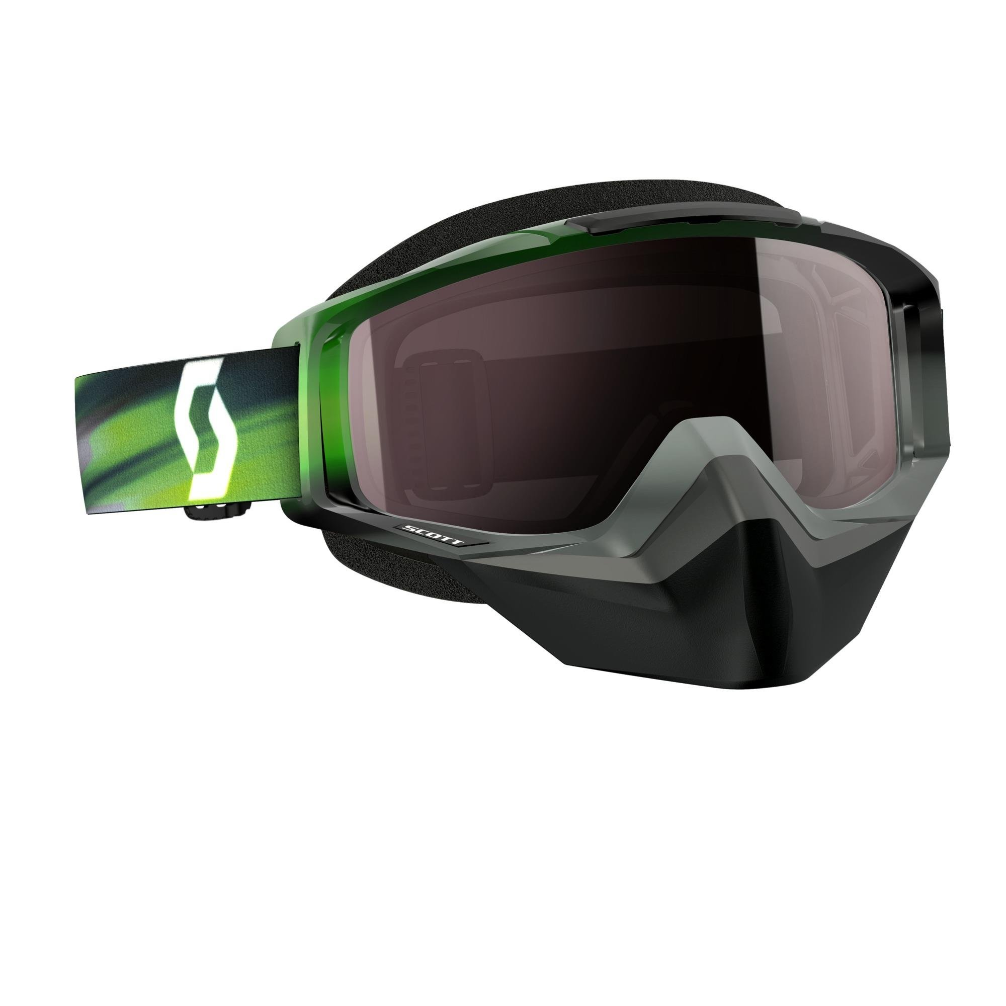 Scott Tyrant Men's Snocross Snowmobile Goggles Eyewear - Speed Grey/Green/Silver Chrome / One Size