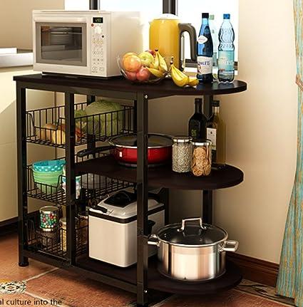 Magshion Kitchen Island Dining Baker Cabinet Basket Storage Shelves  Organizer Wood (Black)