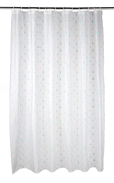 Beldray LA041692RAQ Raindrops Shower Curtain With Hooks 180 X 180cm PEVA White