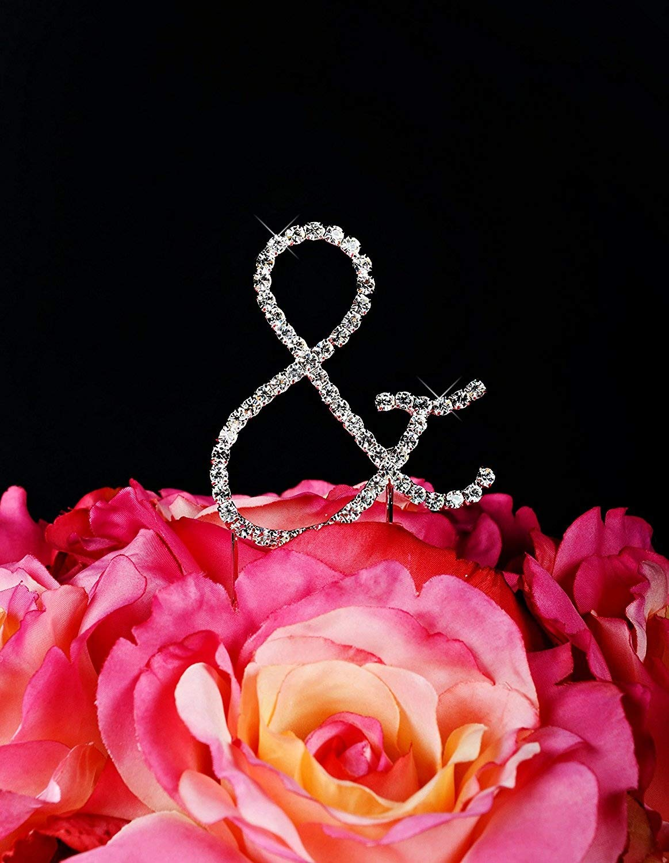 Unik Occasions Simply Elegant Crystal Rhinestone Ampersand Wedding Cake Topper, Silver