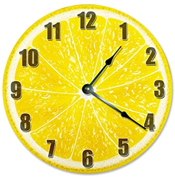 Amazon.com: YELLOW LEMON CLOCK Decorative Round Wall Clock Home ...