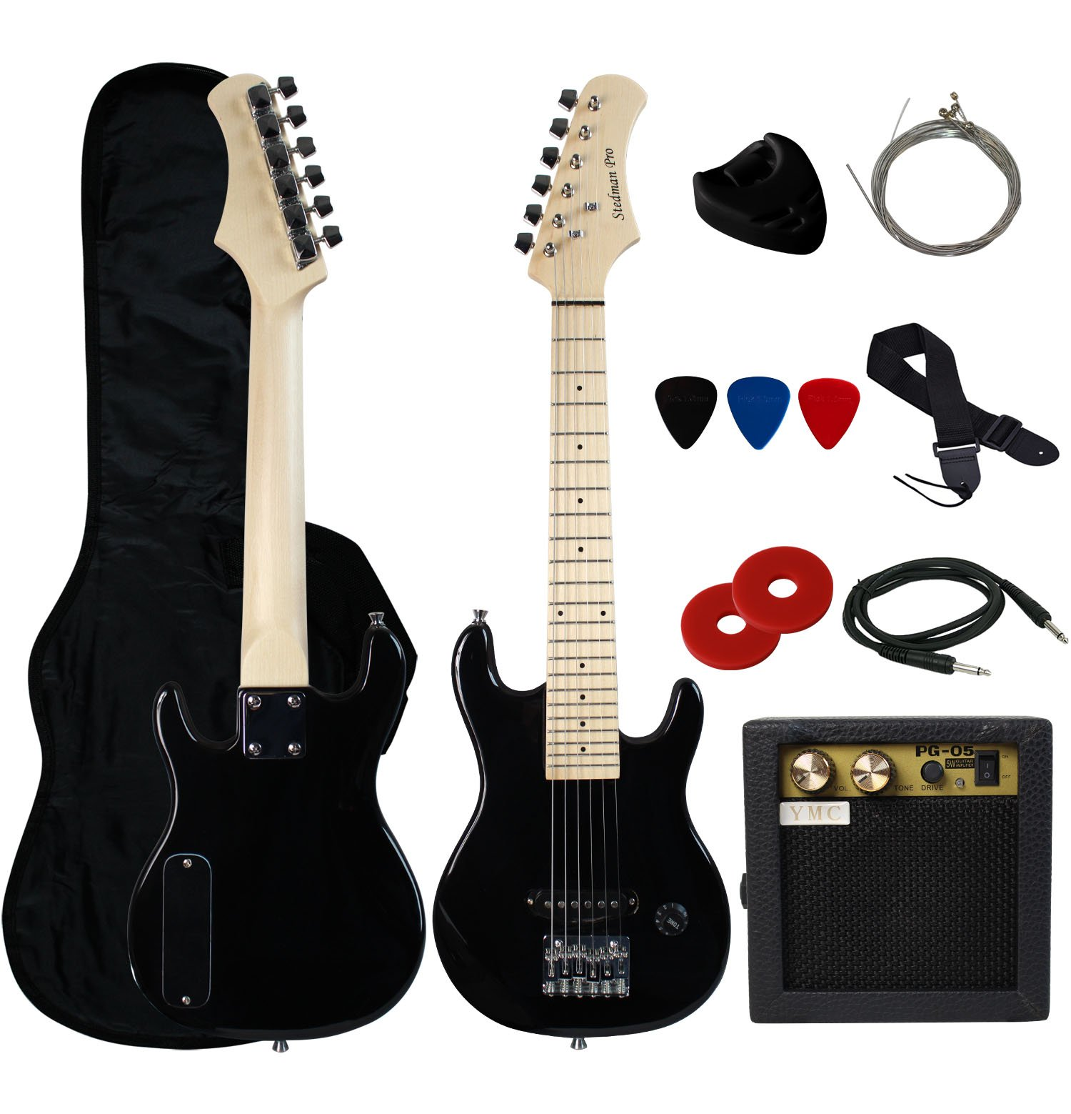 Stedman Pro 30'' Kids Electric Guitar Pack With 5-Watt Amp, Gig Bag,Strap,Cable,Strings,Picks,and Wrench,Guitar Combo Accessory Kit--Black
