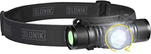 SLONIK - Adjustable beam - 500 Lumen Rechargeable LED Headlamp 2200 mAh Battery - Lightweight, Durable, Waterproof and Dustproof Headlight - Xtreme Bright 300 ft Beam - Camping and Hiking Gear