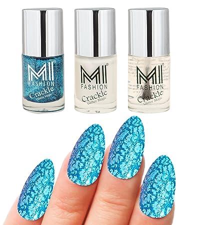 MI Fashion® Professional Crackle Blue Glitter Magic 3Pcs Long Stay Nail  Polish