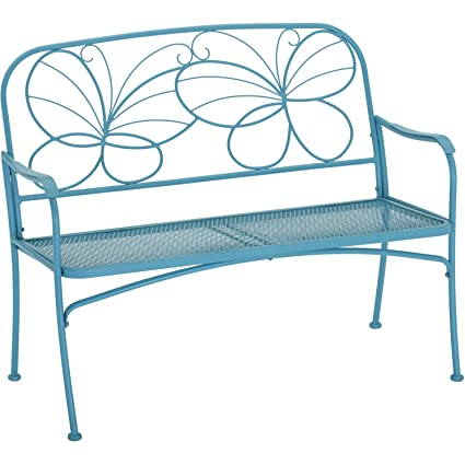 Prime Mainstays Blue Butterfly Outdoor Patio Bench With Armrests Rounded Corners And A Sturdy Frame Enhances The Backrest That Greets You Your Family And Gmtry Best Dining Table And Chair Ideas Images Gmtryco