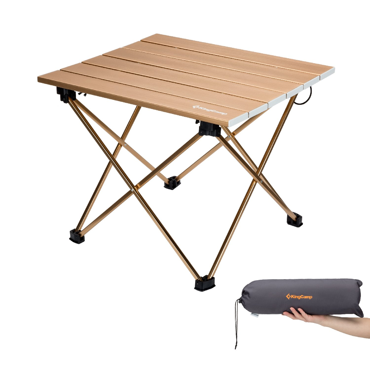 KingCamp Ultralight Compact Folding Camping Aluminum Table With Carry Bag,  Two Sizes