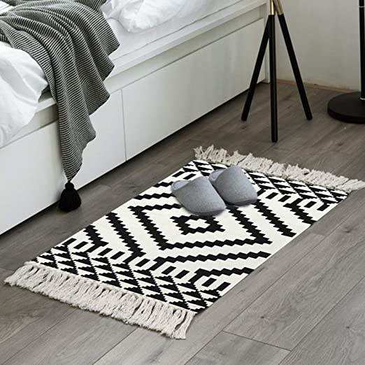 Moroccan Cotton Area Rug 2\' x 3\', KIMODE Washable Hand Woven Print Tassel  Chic Diamond Throw Rugs Welcome Door Mat with Non-Slip Pads for ...