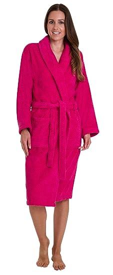 b3c9d14281 Florentina Ladies Soft Cotton Terry Towelling Bathrobe Pink (Medium)