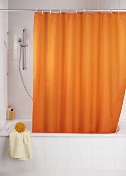 Wenko 20039100 Rideau de Douche en Textile Orange Anti Moisissure ...