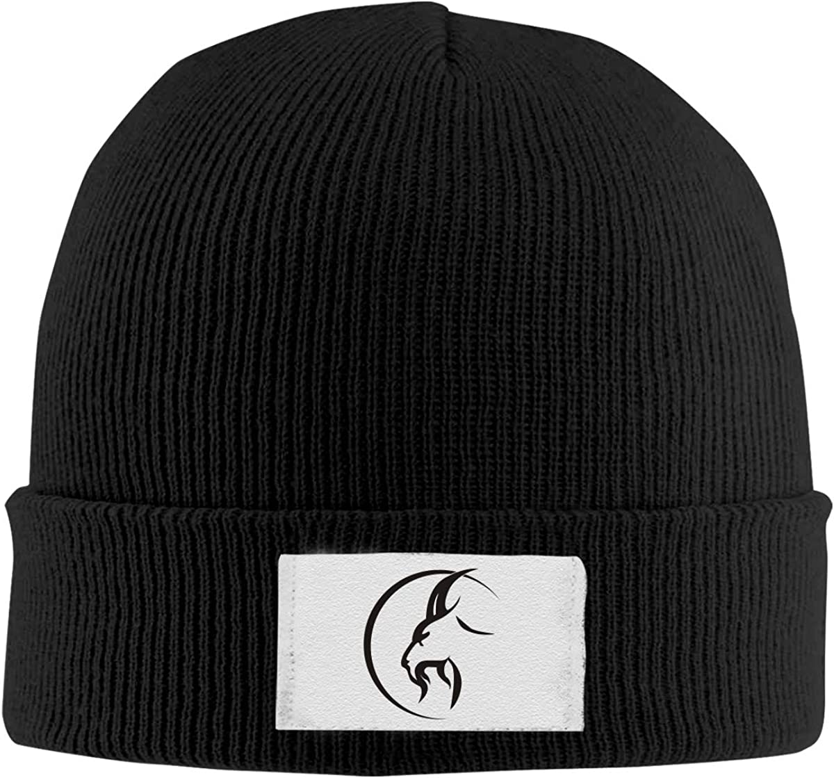 Dunpaiaa Skull Caps Goat Logo Winter Warm Knit Hats Stretchy Cuff Beanie Hat Black