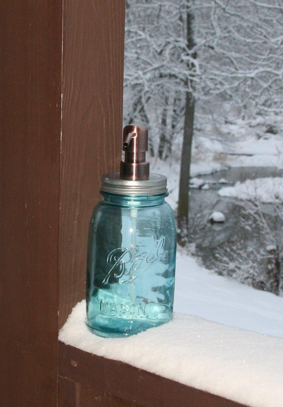 Amazon com: Mason Jar Soap Dispenser with Copper Metal Pump