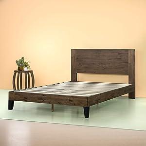 Zinus Tonja Platform Bed / Mattress Foundation / Box Spring Replacement / Brown, King
