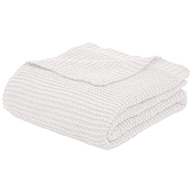 AmazonBasics Knitted Chenille Throw Blanket - 50 x 60 Inches, White