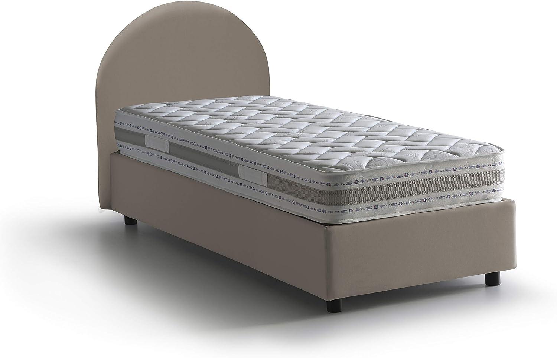 205x95 con materasso armony Bianco Talamo Italia letto Luna singolo con contenitore con apertura frontale cm 205 x 95 h95 ecopelle
