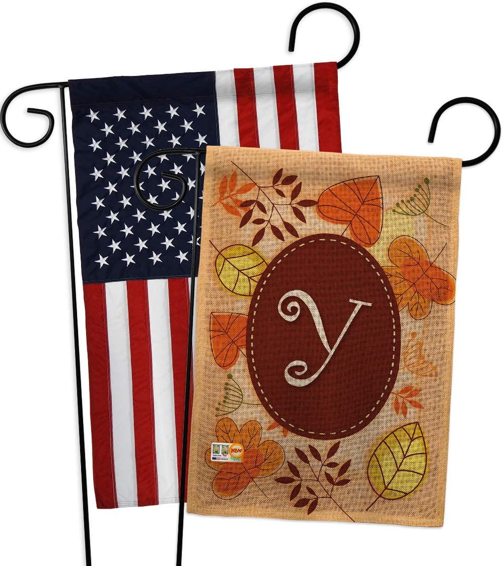 Autumn Y Initial Garden Flag - Pack Monogram Fall Harvest & Scarecrow Pumkins Sunflower Leaves Season Autumntime Gathering USA Applique - House Banner Small Yard Gift Double-Sided 13 X 18.5