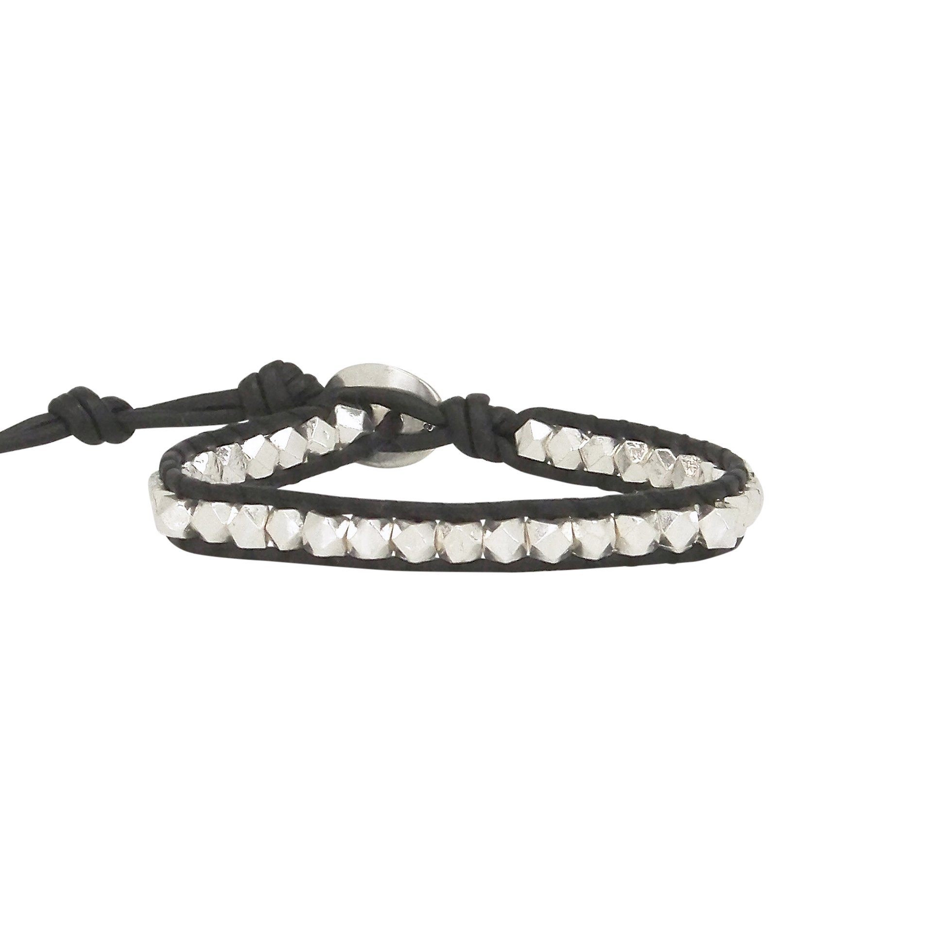 Chan Luu Single Wrap Bracelet in Silver Nuggets and Black Leather