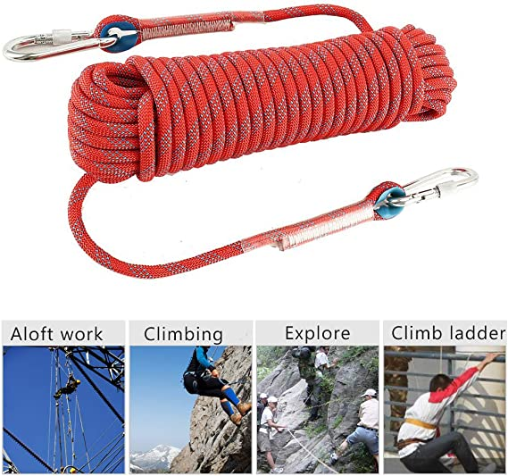 10-20M Red Outdoor Climbing Rope Rock Climbing Equipment Diameter Rope U4Z0