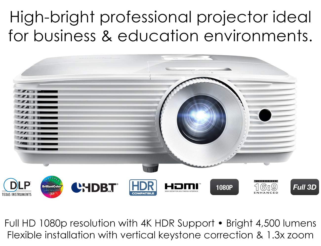 Optoma EH412 1080P DLP Professional Projector | Super Bright 4500 Lumens | Business Presentations, Classrooms, and Meeting Rooms | 15,000 Hour lamp Life | 4K HDR Input | Speaker Built in by Optoma (Image #3)