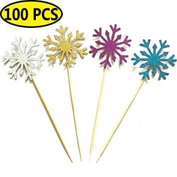 christmas cake toppers coxeer 100 pcs christmas cupcake toppers snowflake party glitter cake topper picks - Christmas Cake Decorations Amazon