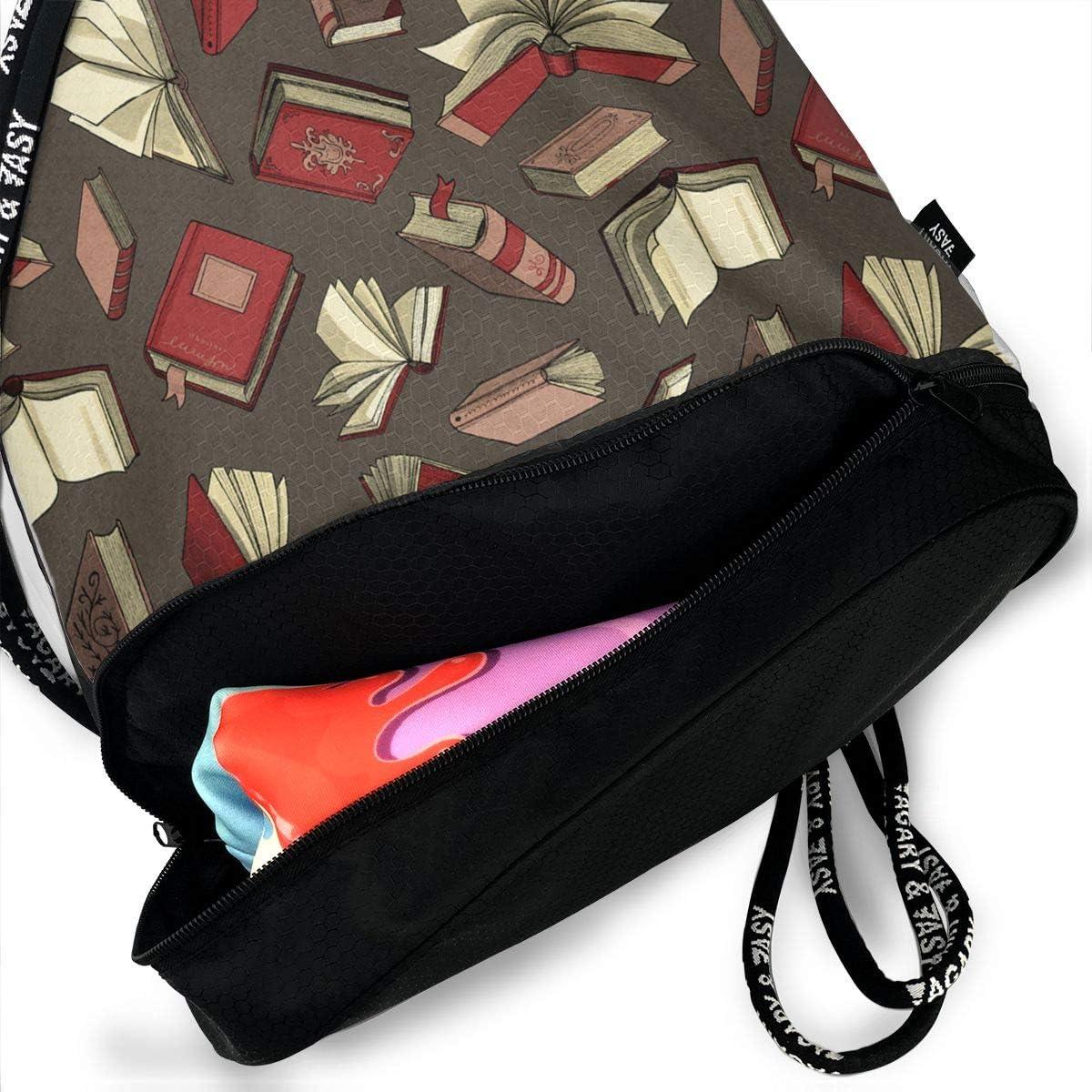 HUOPR5Q Books Drawstring Backpack Sport Gym Sack Shoulder Bulk Bag Dance Bag for School Travel