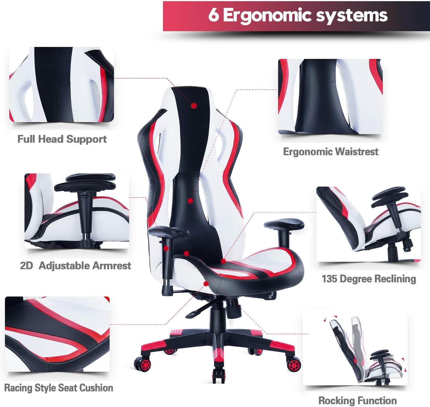 HEALGEN Gaming Chair Racing Style High-Back PU Leather Office Chair PC Desk Chair Executive and Ergonomic Swivel Chair 907 Red