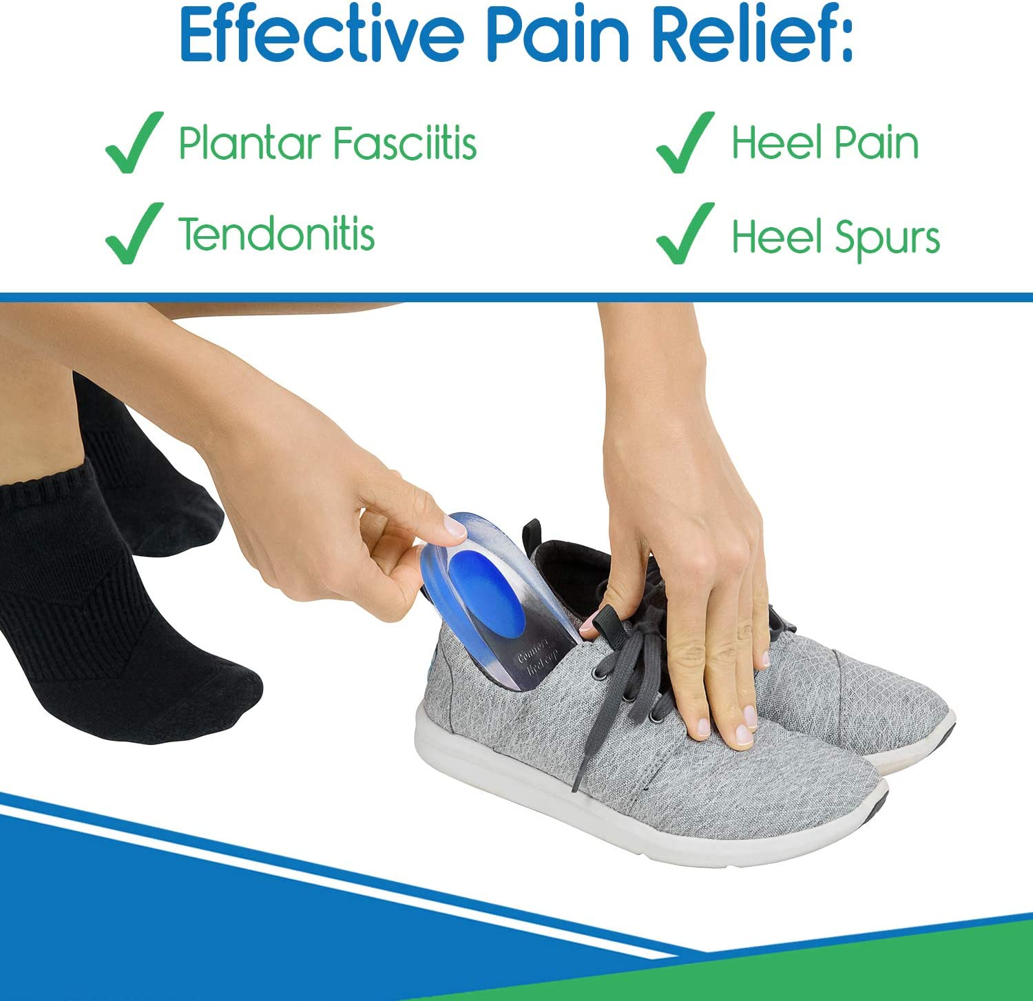 ViveSole Silicone Gel Heel Cups - Shoe Inserts for Plantar Fasciitis, Sore Heel, Bone Spur & Achilles Pain Relief Protectors - Foot Comfort Pads - Support (1 Pair, US Men's (6-9.5)): Health & Personal Care