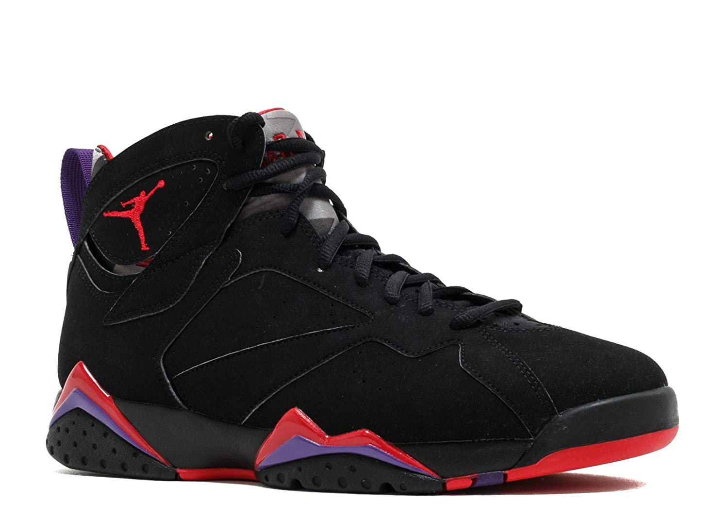 Nike Mens Air Jordan 7 Retro Raptor Black/True Red-Dark Charcoal-Purple Leather Basketball Shoes Size 10