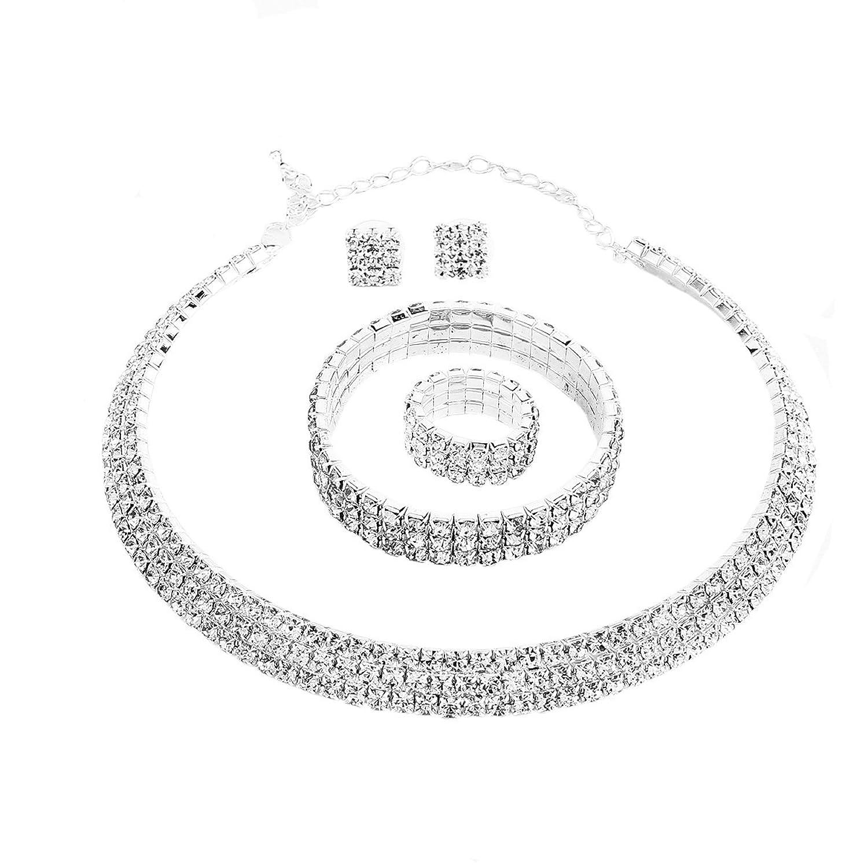 Santfe Crystal Rhinestone Choker Necklace Earrings Bracelet Ring Jewelry Set