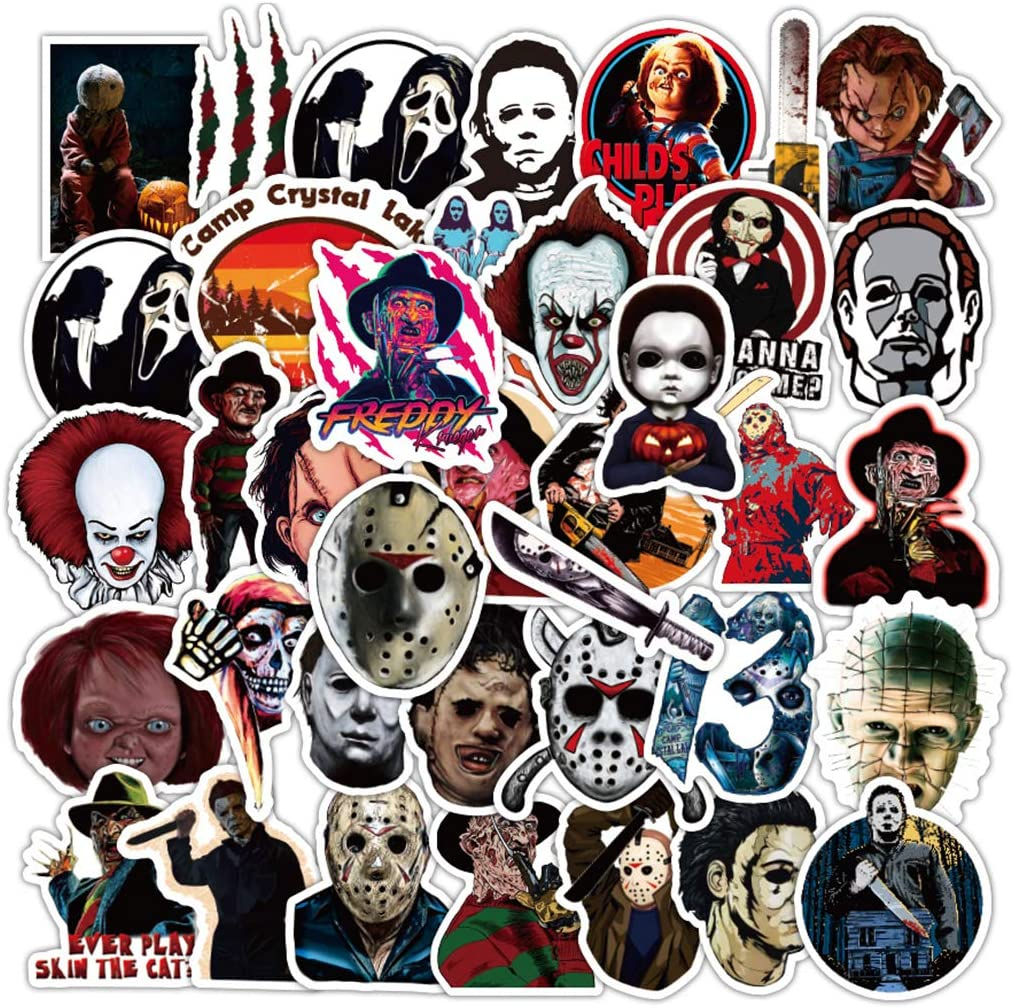 50Pcs Thriller Horror Character Stickers for Water Bottle Cup Laptop Guitar Car Motorcycle Bike Skateboard Luggage Box Vinyl Waterproof Graffiti Patches XQX